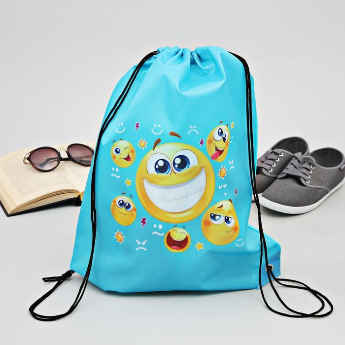 "Сумка-рюкзак для обуви ""Смайлы"", 43 х 38 см"