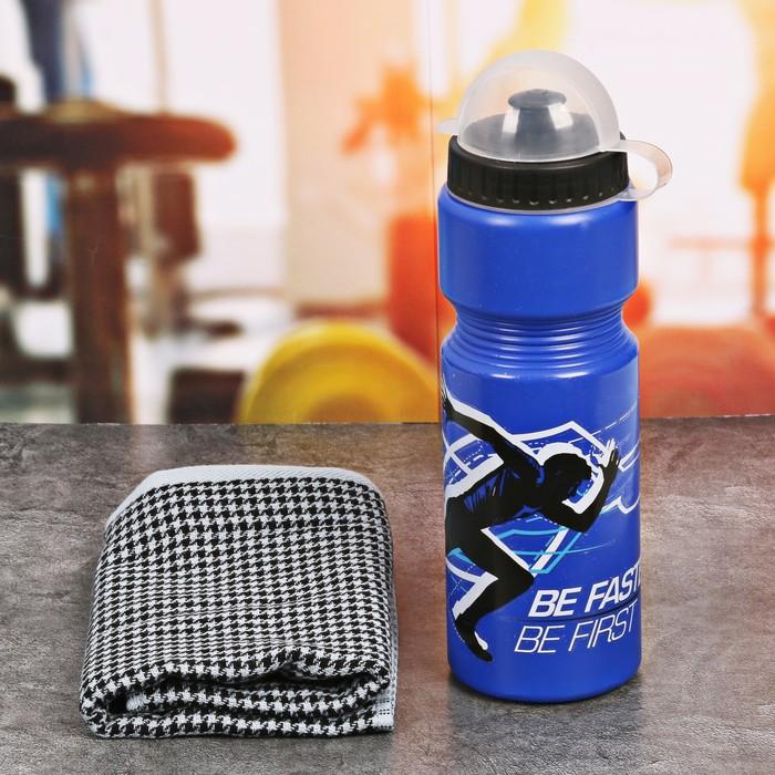 Набор «Be first»: бутылка для воды 800 мл, полотенце, чехол