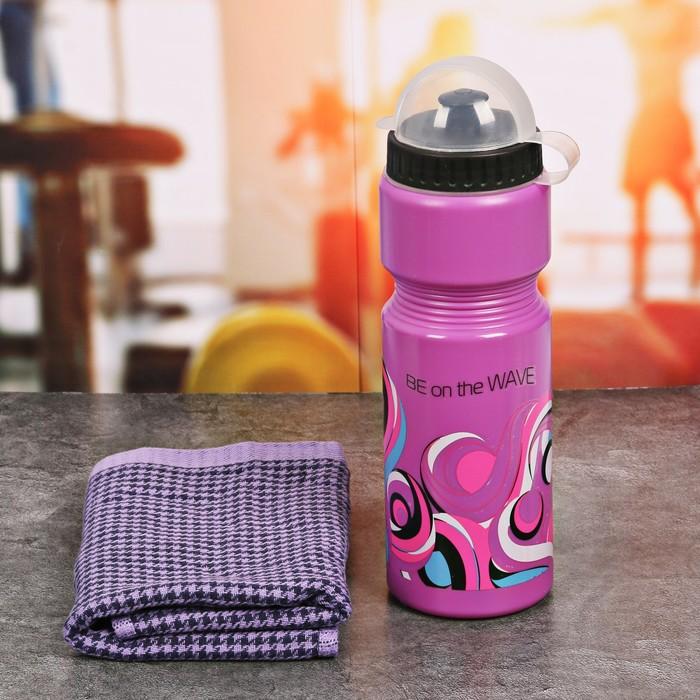 Набор «Be on the wave»: бутылка для воды 800 мл, полотенце, чехол