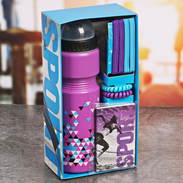 Набор «Треугольники»: бутылка для воды 800 мл, повязка для волос 2 шт, блокнот