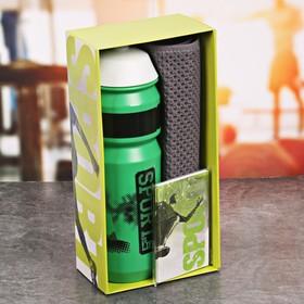 Набор «Sport is life»: бутылка для воды 800 мл, полотенце 30 см × 30 см, блокнот