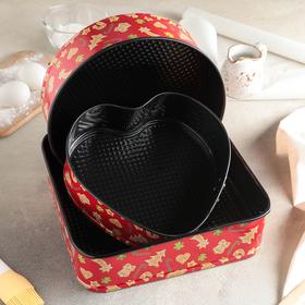 "A set of forms for baking split ""Floret"", 3 items: 26/24/21,5x7 cm, non-stick coating"