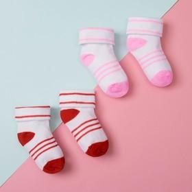 Набор детских носочков (2 пары), размер 9, цвет красный/розовый Ош