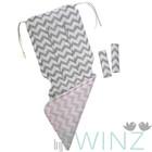 "Матрасик в коляску ""Зигзаги"", размер 34х84 см, сатин, серый/розовый"