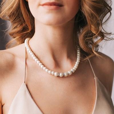 "Beads ""classic"", white, 40 cm"