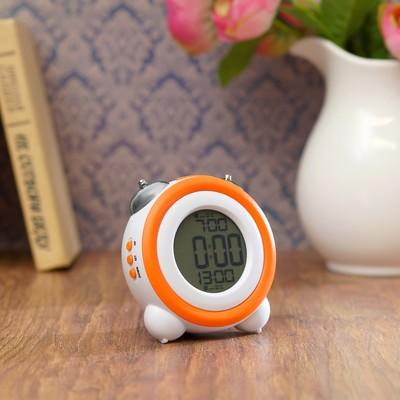 Часы-будильник электронные, с подсветкой, два будильника, дата, оранжевые, 11.5х10.5х7 см