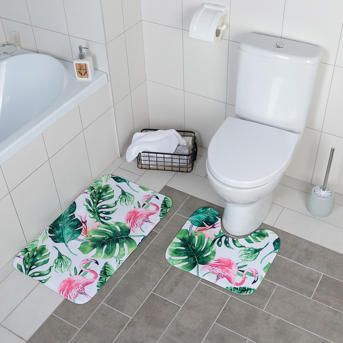 Набор ковриков для ванны и туалета «Фламинго», 2 шт: 40×43, 43×73 см