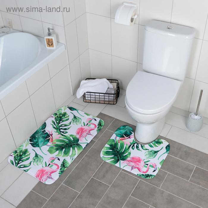 """Set of floor mats for bathroom and toilet """"Flamingo"""", 2 PCs"""