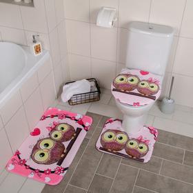 Набор ковриков для ванны и туалета «Совушки на ветке», 3 шт: 38×45, 40×43, 43×73 см, цвет розовый