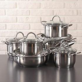 """Набор посуды """"Виктория"""", 6 предметов: ковш 1,5 л, сотейник 3 л с а/п, кастрюли 1,5 л/2 л/3 л/5 л, капсульное дно"""