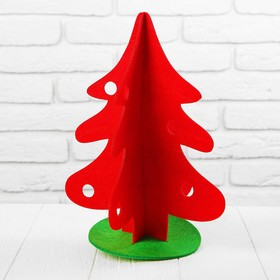 A Christmas tree made from felt on the stand, team, size 23*23*31 the color red