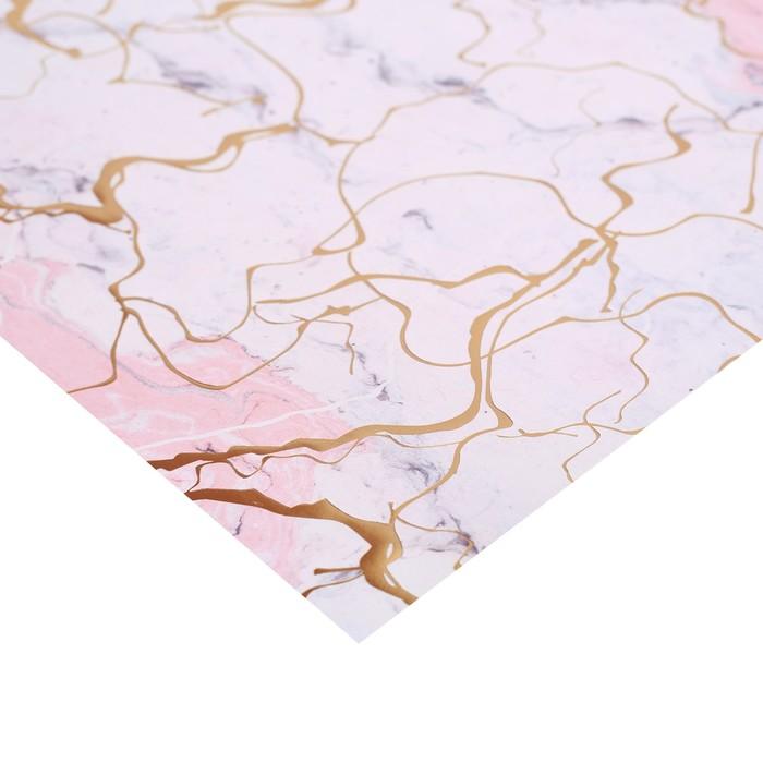 Бумага в листах с фольгированием «Мрамор», 10 листов 30,5 х 30,5 см, 180 г/м - фото 551459840