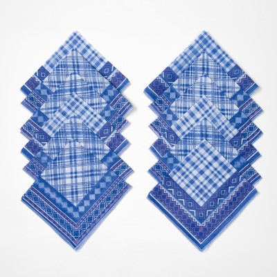 """Платки носовые мужские """"Этель"""" 30х30 см, (набор 12 шт.) цв. синий ситец, 100% хл"""