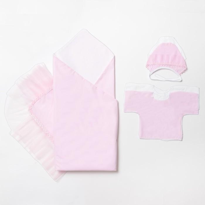 Комплект на выписку, цвет белый/розовый 4194/0