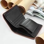 Портмоне мужское, 2 отдела, для кредиток, цвет коричневый - фото 59791