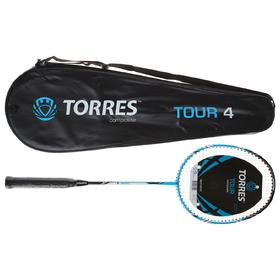 Ракетка для бадминтона TORRES, Tour4, BD-501, для любителей, стержень из графита, алюминиевый обод, со струнами