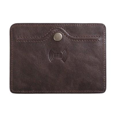 Картхолдер с RFID-защитой, натуральная кожа, цвет коричневый