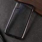 Чехол LuazON для телефона iPhone X, силиконовый, прозрачный, чёрная окантовка