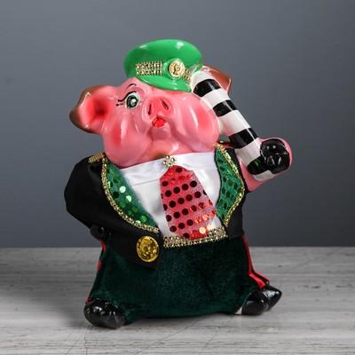 """Копилка """"Свинка Гаишник"""", акрил, разноцветная, 27 см, микс"""
