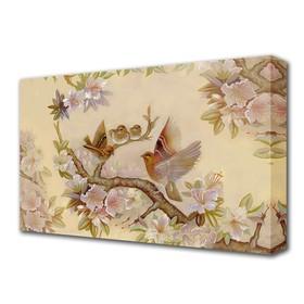 "Картина на холсте ""Птички на сакуре"" 60*100 см"