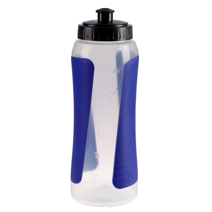 Бутылка для воды 900 мл, велосипедная, пластик PP, вставки синие, 8х23.5 см