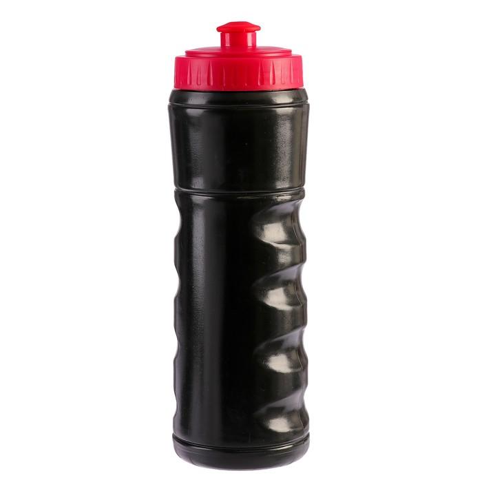 Бутылка для воды 650 мл, велосипедная, пластик LDPE, черная с красной крышкой, 7х22 см