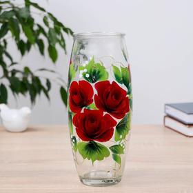 Ваза Красная Роза с росписью на проз.стекле, d-7см 10х23 см