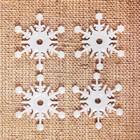"""Основа для творчества и декора """"Снежинка"""" набор 4 шт, размер 1 шт 3,5 см, цвет белый"""