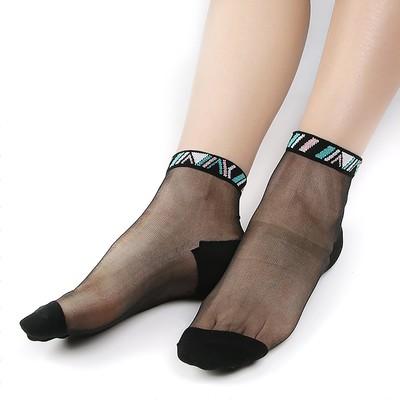 Носки женские стеклянные, цвет чёрный, размер 36-40