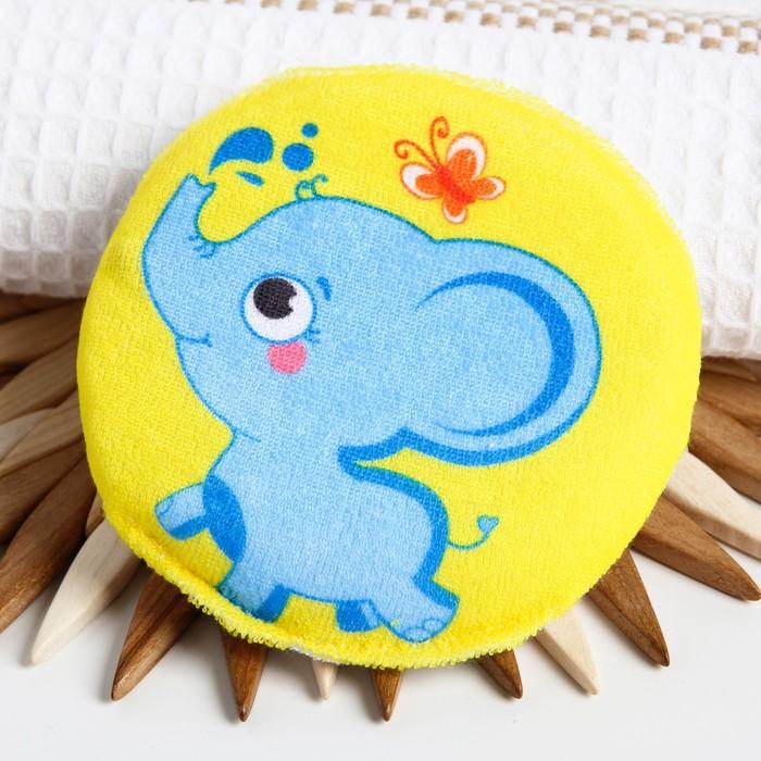 Мочалка детская махровая «Слоник», на резинке, диаметр 11 см