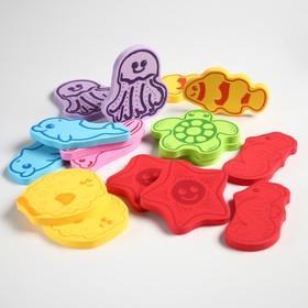 Набор игрушек для ванны «Учим морских животных»: фигурки-стикеры из EVA, 16 шт.