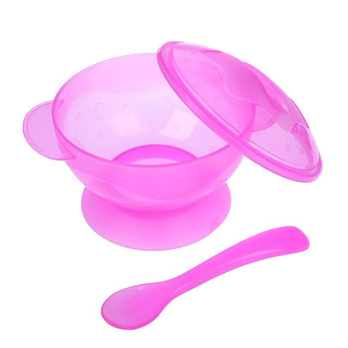 Набор детской посуды, 3 предмета: миска на присоске 330 мл, крышка, ложка, от 5 мес., цвет розовый