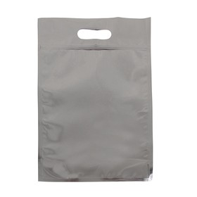 Пакет металлизированный 25 х 40 см., зип-лок, прорубная ручка, донная складка 10 см. Ош