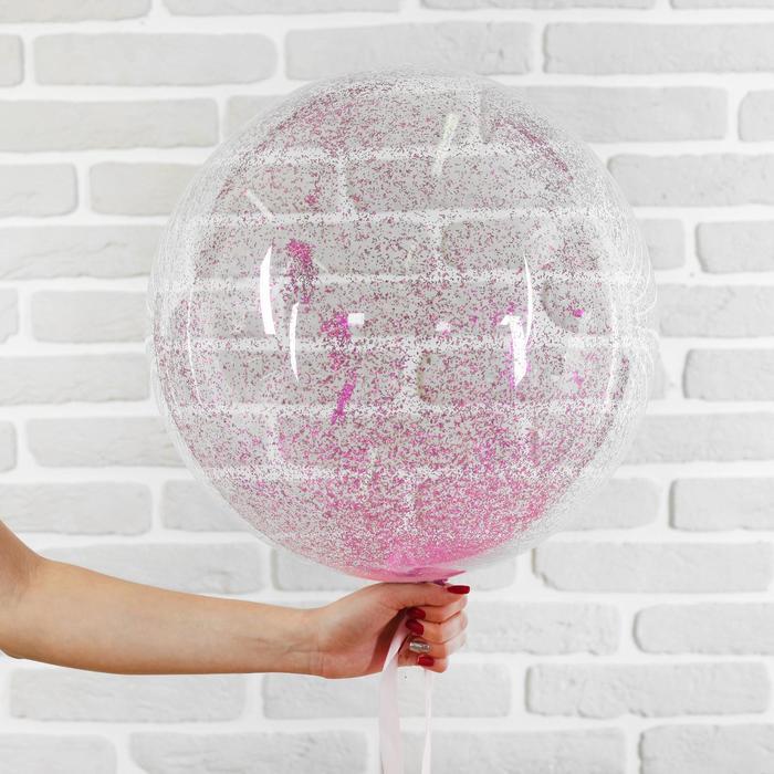 """Шар полимерный 20"""" """"Сфера"""", блестки, цвет розовый, 1 шт"""