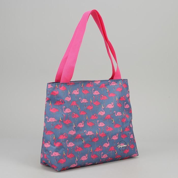 "Сумка летняя ""Фламинго"", отдел на молнии, цвет розовый"