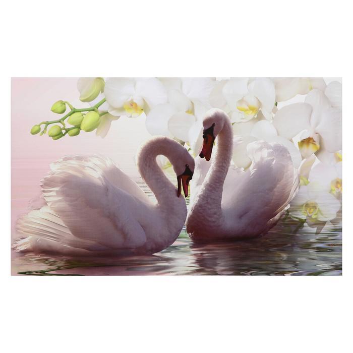 """Картина на холсте """"Лебеди в цветах"""""""