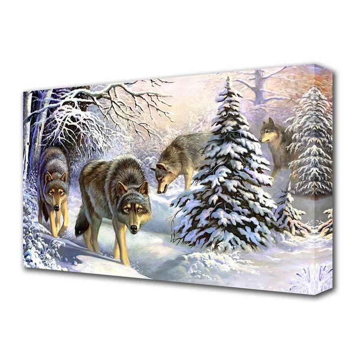 "Картина на холсте ""Волки в зимнем лесу"" 60*100 см"