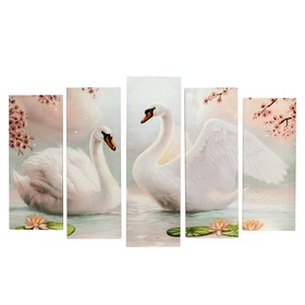 """Модульная картина на подрамнике """"Лебеди на пруду"""" 2-25х64, 2-25х71,1-25х80  125*80 см"""