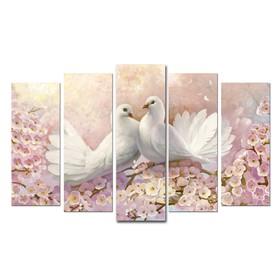 "Модульная картина на подрамнике ""Красота птиц"" 2-25х64, 2-25х71,1-25х80  125*80 см"