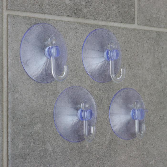 Набор крючков на вакуумной присоске Доляна «Классика», 4 шт, цвет прозрачный