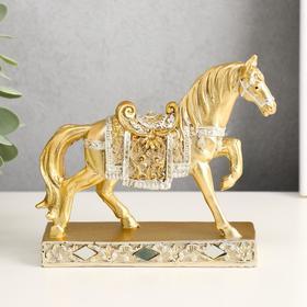 "Polyresin souvenir ""the Golden horse in fishnet clothes"" 12h13,5x4 cm"