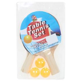 Набор для настольного тенниса, 2 ракетки толщиной 0,5 см, 3 шарика, любительские, пластиковая ручка Ош
