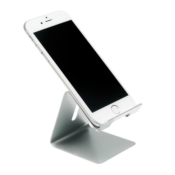 Подставка для телефона, с разъемом для провода, металл, серая