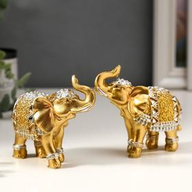 "Souvenir Polyresin ""Golden elephant in the mirror blanket"" 8,5x9,2x3,7 cm MIX"