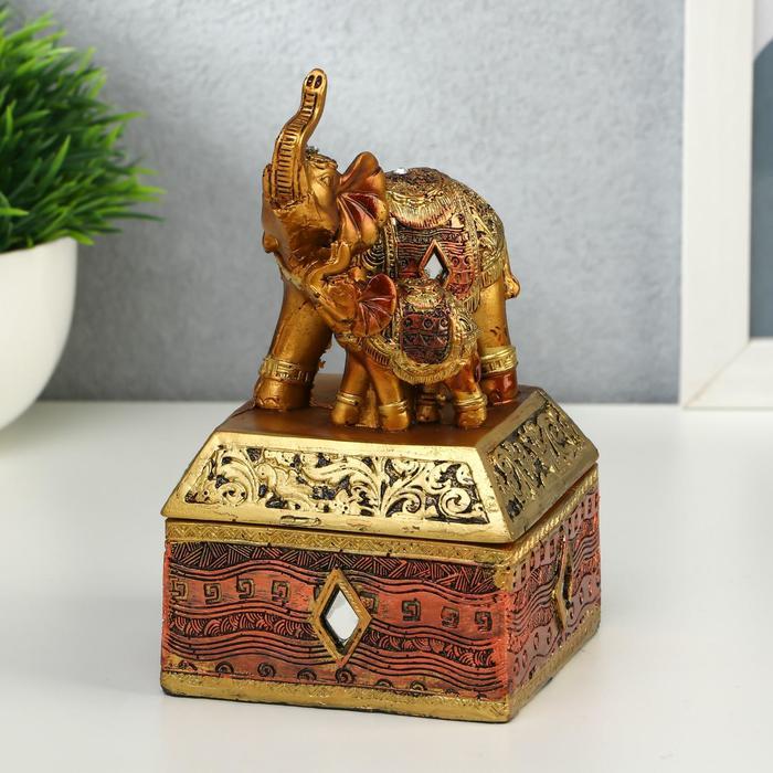 """Шкатулка полистоун """"Африканский слон в золотой, ажурной попоне"""" 14,5х8,5х8,5 см"""