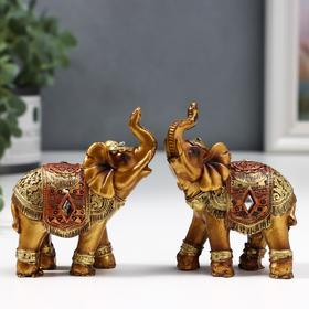 Сувенир полистоун 'Африканский слон в золотой, ажурной попоне' МИКС 8,5х7х3 см Ош