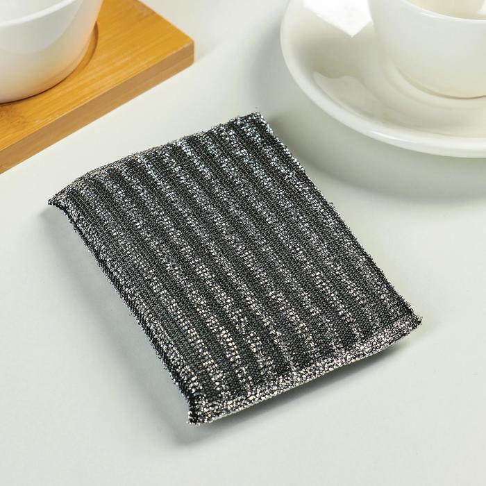 Губка для мытья посуды со стальной стружкой 12×9×1.5 см