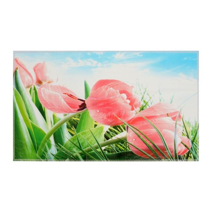 """Наклейка на кафельную плитку """"Розовые тюльпаны в поле"""" 45х75 см"""