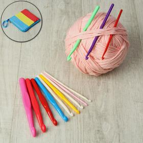 A set of hooks for knitting, d = 4-15 mm, 12 PCs, color MIX