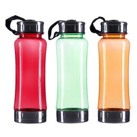Бутылка для воды 700 мл, со шкалой, на ремешке, пластик AS, микс, 7х7х22.5 см Ош